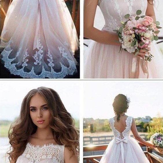 A-line Nude Tulle with Ivory Lace Appliqued Illusion neck Wedding Dresses M5727