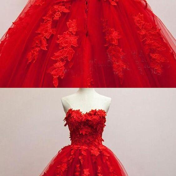 Generous Prom Dress,Floral Prom Dress, Quinceanera Prom Dress,Fashion Prom Dress, Cheap Party Dress, Red Evening Dress, Red Ball Gown with Appliques M5844