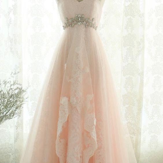 Pink Sweetheart Beading Lace Tulle Lace Up Open Back A-Line Long Prom Dress, Prom Dresses M5850