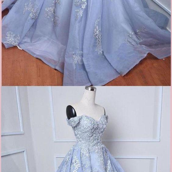 Chic A-line Off-the-Shoulder Organza Lace Prom Dress Beading Evening Dresses M5852