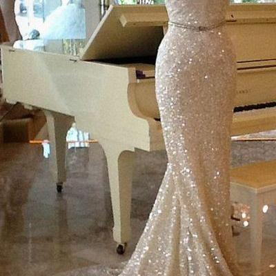 Shining Champagne Sequins Party Dress,Long Train Evening Dress ,Prom Dresses M6041