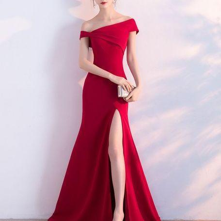 Burgundy Evening Dresses Off The Shoulder Formal Dress Sexy High Split Elastic Silk Like Satin Party Dress M6042