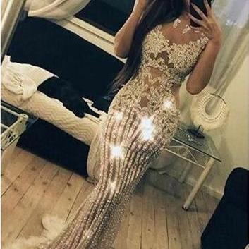2019 Sparkly Beading Charming Fashion Stunning Gorgeous High Quality Prom Dresses, Evening Dresses M6043
