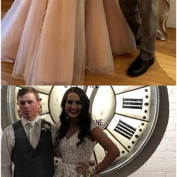 A Line Cheap Nude Quinceanera Dress Lace Appliqued Beaded Prom Dresses M6153