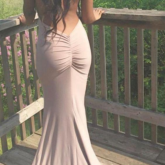 Sexy V-neck Long Mermaid Prom Dress with Backless M6432