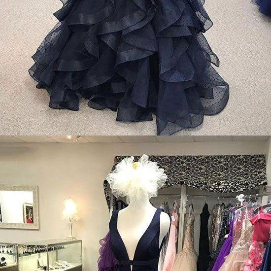 Dark blue v neck long prom dress, blue evening dress M7068