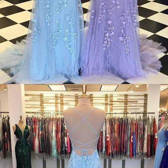 Custom made lace tulle long prom dress, evening dress M7069