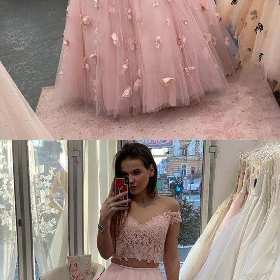 Pink lace tulle long prom dress, two pieces evening dress M7070