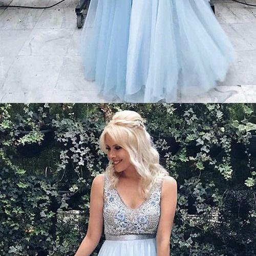 A-Line V-Neck Floor-Length Blue Tulle Prom Dress with Lace Beading M7103