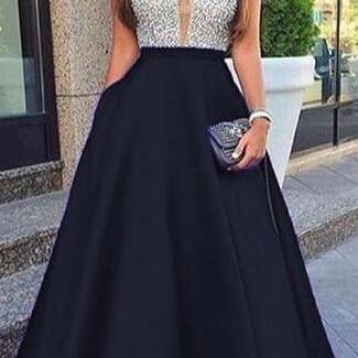 Elegant Black Long Formal Evening Dress M7601
