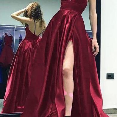V-neck Long Prom Dresses With Slit Fashion Winter Formal Dress Popular Wedding Party Dress M7602