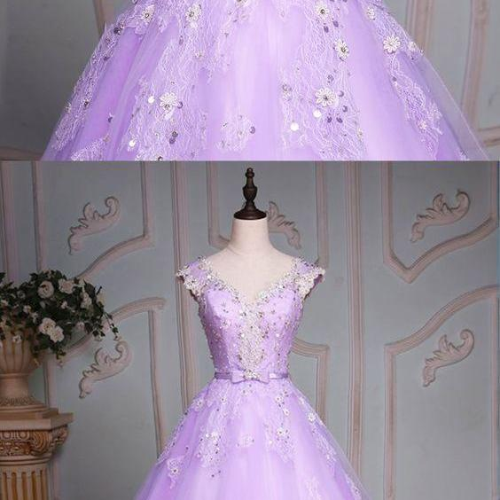 Lavender tulle cap sleeve beaded long evening dress, senior lace prom dress M7761