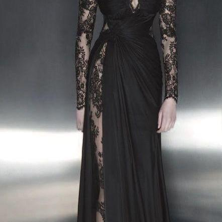 Charming Lady Dresses, Black Lace Long Sleeve Evening Dresses, Off the Shoulder Prom Dresses M7857
