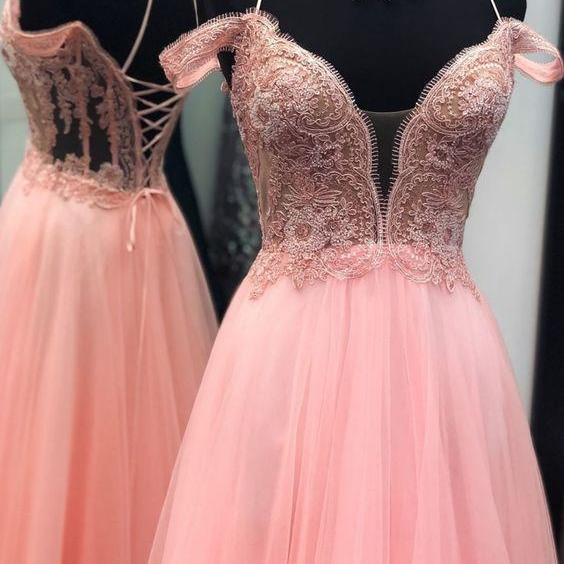 Straps Pink Ball Gown with Lace Up Back, Sweet 16 Dress Ball Gown M8639