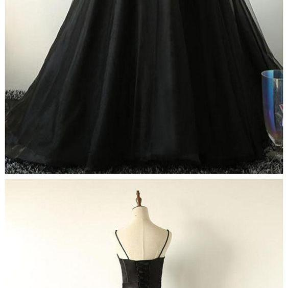 Ball Gown Spaghetti Straps Black Tulle Prom Dress M8640
