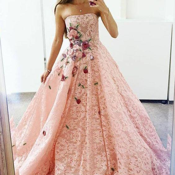 Strapless Pink Lace Long Ball Gown with Floral Embroidery M8718