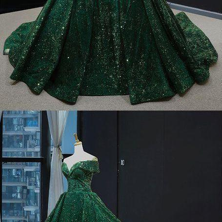 Real Picture Dark Green Sequins V Neck Sweep Train Formal Prom Dress, Special Occasion Dress M8719