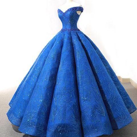Gorgeous royal blue heavy satin off shoulder long formal prom dress, evening dress with lace appliqués M8721