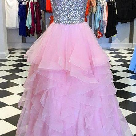 Sparkly Beaded Halter Organza Ruffles Prom Dresses Ball Gowns M9519