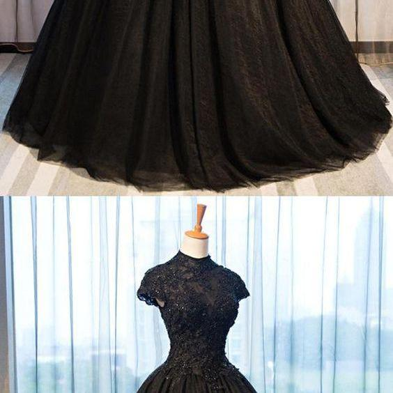 elegant long black tulle lace long prom dress,a line formal black tulle evening gown M9530