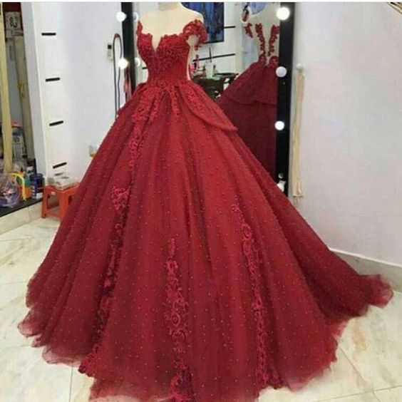burgundy Prom Dress,tulle Prom Dress,Appliques Prom Dresses,ball gown Prom Dress m760