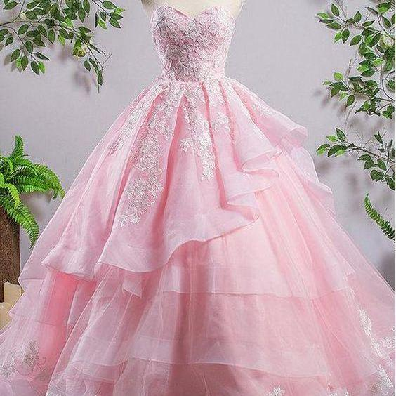 Sweetheart Pink A-line Lace Cheap Evening Prom Dresses, Sweet 16 Dresses, Quinceanera Dresses m841