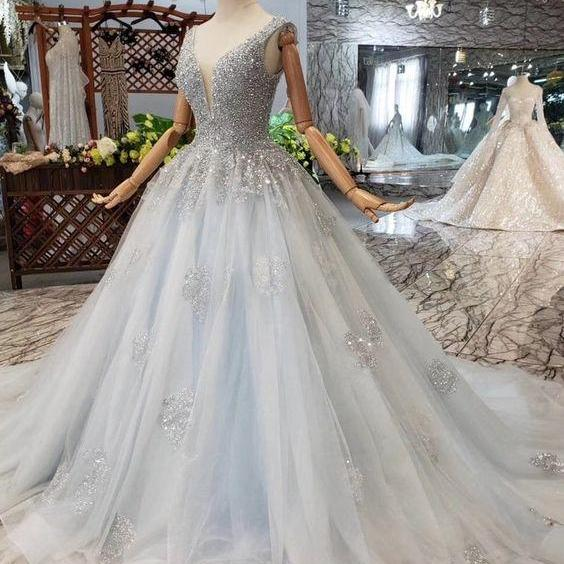 Ball Gown Deep V Neck Sleeveless Tulle Wedding Dress with Beading, Prom Dresses m867