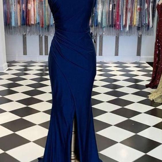 Long Blue Strapless Prom Dress m868