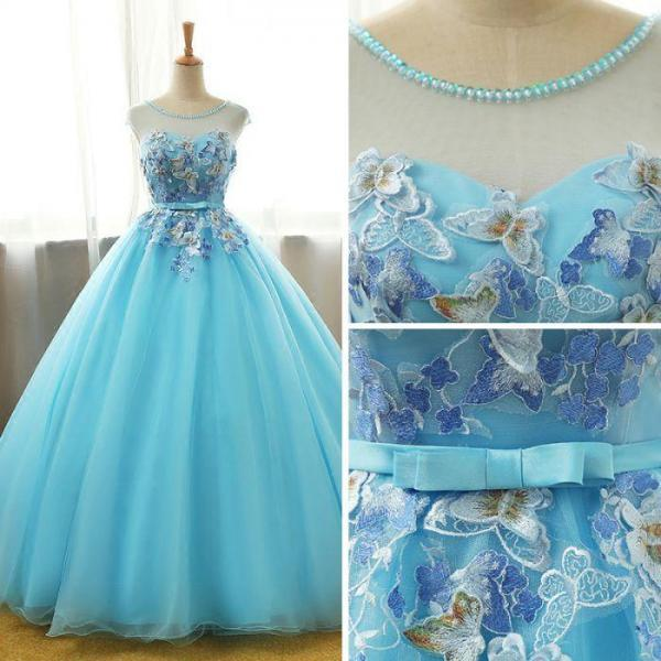 Beautiful Blue Round Long Party Dress,Ball Gown Lace Applique Sweet 16 Dress m880