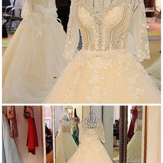 Wedding Dress,Sexy Long Sleeves Wedding Dress White Flash Diamond Long Train Bride Dress m882