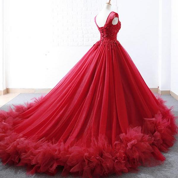Red Tulle Cap Sleeve Long Beaded Quinceanera Dress, Evening Dress m883