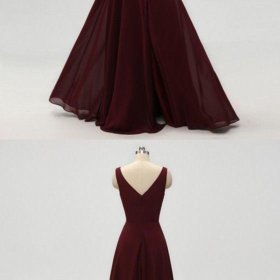 A-line V-neck Burgundy Chiffon Prom Dresses With Pleats m963