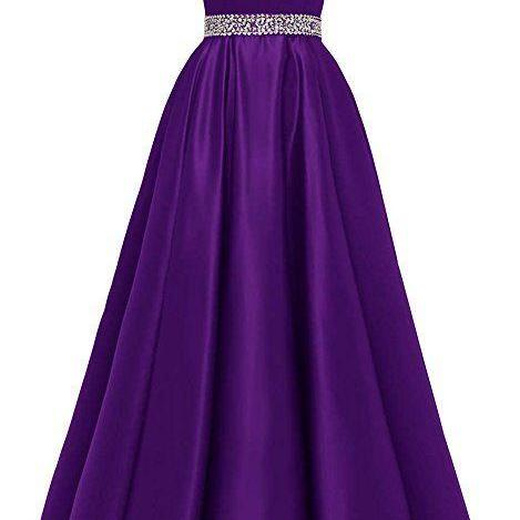 Long Beaded Prom Dress Satin V-Neck Spaghetti Formal Evening Gowns m965