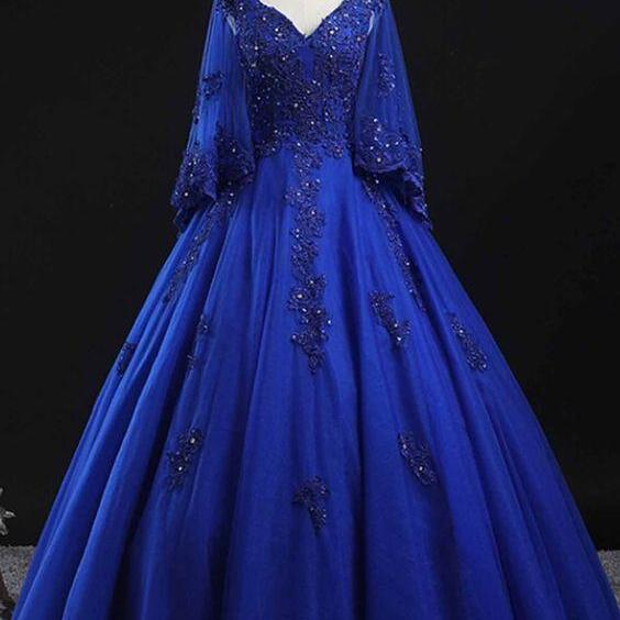 Royal Blue Tulle Long Lace Corset Princess Puffy Prom Dress Formal Dress m1827