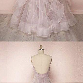 Simple Long Tulle Dress V Neck Layered Prom Dress Graduation Dress m1828