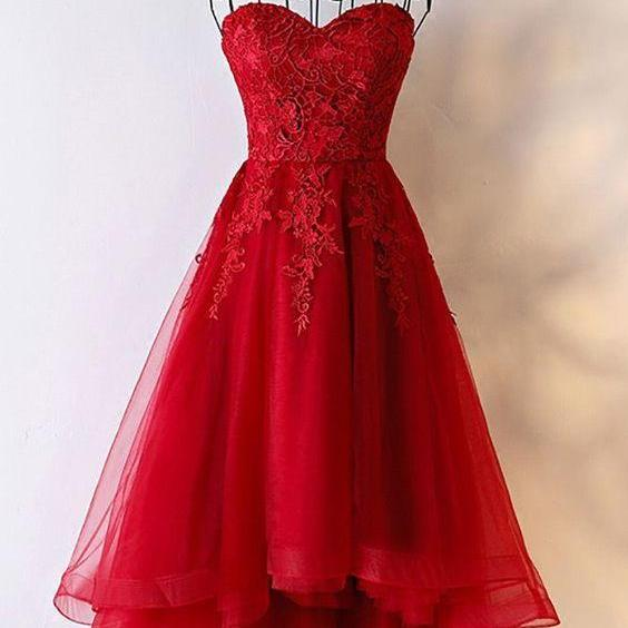 Beautiful Tulle High Low Simple Red Homecoming Dresses, Lace-up Back Formal Dress, Prom Dress m1830