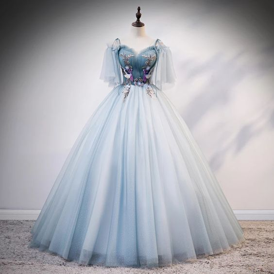 light blue embroidery vintage ball gown long dress vintage medieval dress m1878