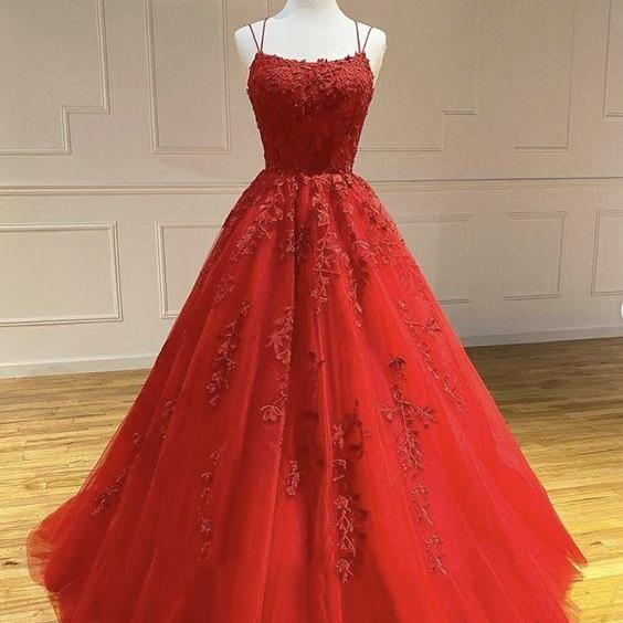 Red lace tulle long prom dress, red evening dress m1881