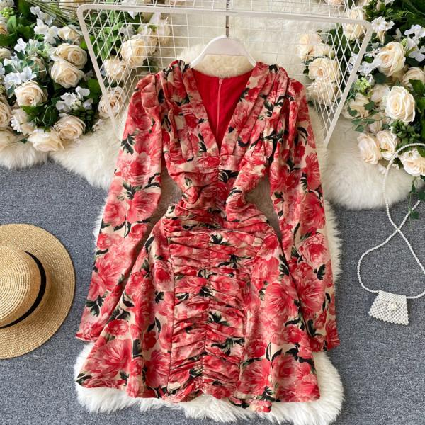 Sexy V Neck Chic Flower Print Party Dress