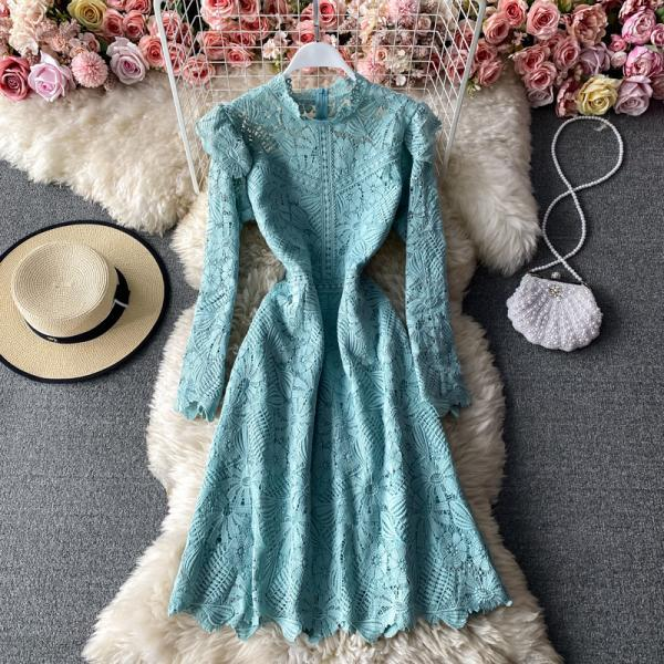 Vintage Solid A-Line Stand Collar Long Sleeve Lace Dress