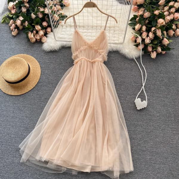 Cute v neck tulle short dress fashion dress