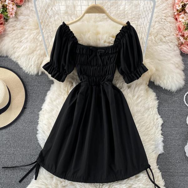 Cute puff sleeve A line dress
