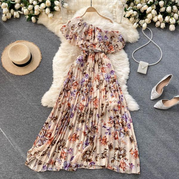 Sweet one-shoulder printed dress