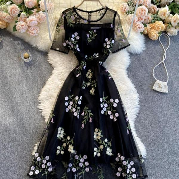 Black A line lace dress fashion dress