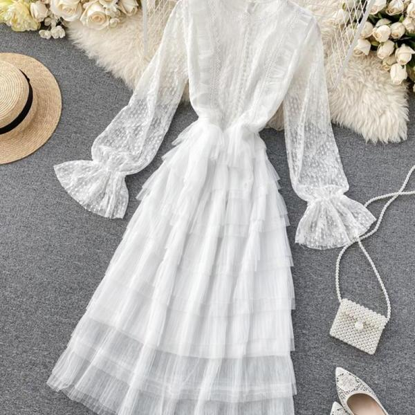 Cute long sleeve lace dress fashion girl dress
