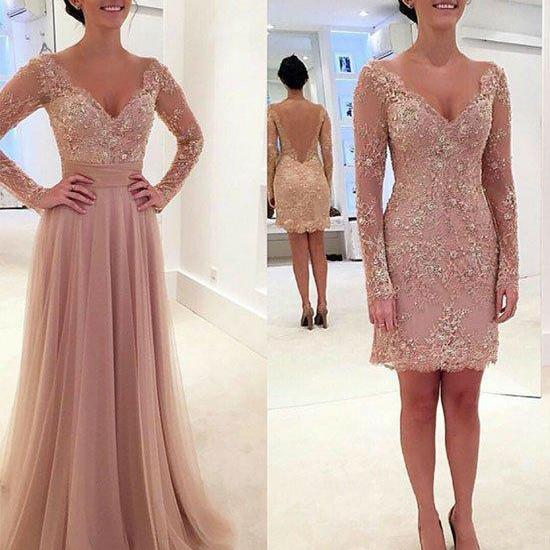 New Arrival pink two pieces long prom dress, lace evening dress for teens