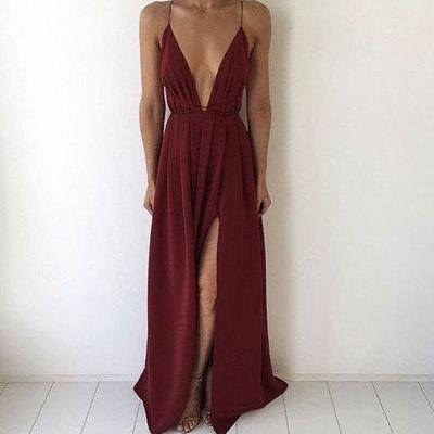 simple burgundy chiffon long prom dress for teens, evening dress